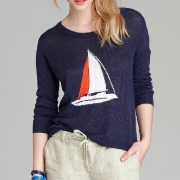 JOIE EVALINE Intarsia Knit Navy Sailboat Sweater